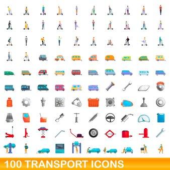 100 transportsymbole eingestellt. karikaturillustration von 100 transportikonenvektorsatz lokalisiert auf weißem hintergrund