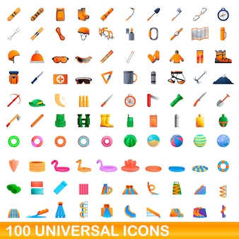 100 universelles set im cartoon-stil