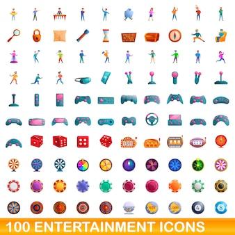 100 unterhaltungssymbole eingestellt. karikaturillustration von 100 unterhaltungsikonen gesetzt lokalisiert auf weißem hintergrund
