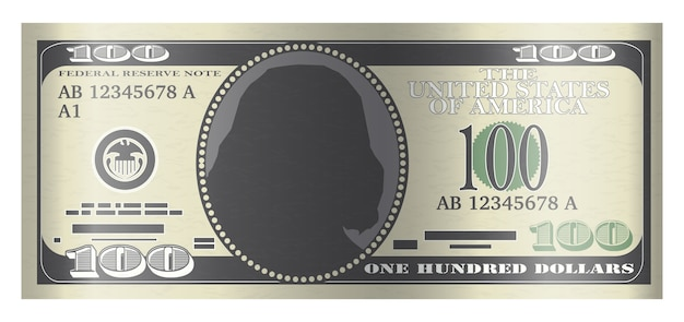 100-usd-banknotenvektor auf weißem hintergrund