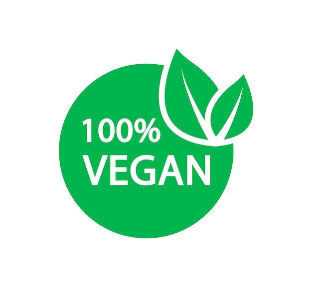 100 veganes vektorlogo vegetarisches bio-lebensmittel-etikett-abzeichen mit blatt