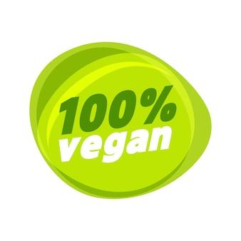100% veganes zeichen. veganes produktelement grünes etikett.