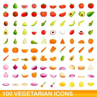 100 vegetarische symbole gesetzt. karikaturillustration von 100 vegetarischen ikonenvektorsatz lokalisiert auf weißem hintergrund