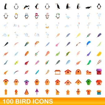 100 vogelsymbole eingestellt. karikaturillustration von 100 vogelikonen, die auf weißem hintergrund lokalisiert werden