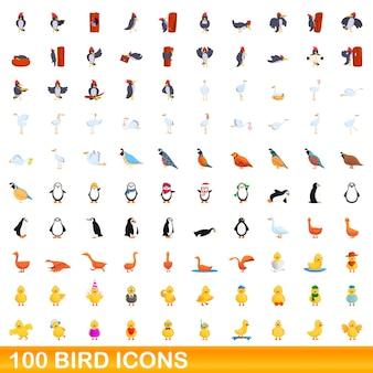 100 vogelsymbole eingestellt. karikaturillustration von 100 vogelikonen eingestellt lokalisiert