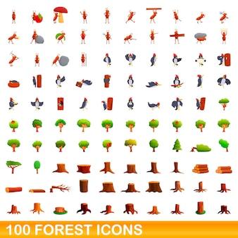 100 waldikonen eingestellt. karikaturillustration von 100 waldikonenvektorsatz lokalisiert auf weißem hintergrund