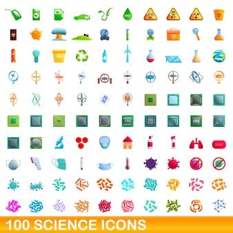 100 wissenschaftsikonen eingestellt. karikaturillustration von 100 wissenschaftsikonenvektorsatz lokalisiert auf weißem hintergrund