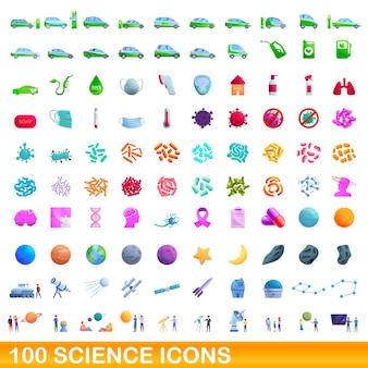 100 wissenschaftssymbole eingestellt. karikaturillustration von 100 wissenschaftsikonen gesetzt lokalisiert auf weißem hintergrund
