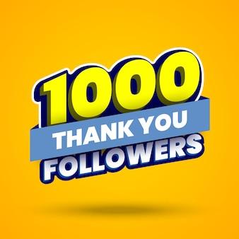 1000-follower-banner mit dank an abonnenten in sozialen netzwerken