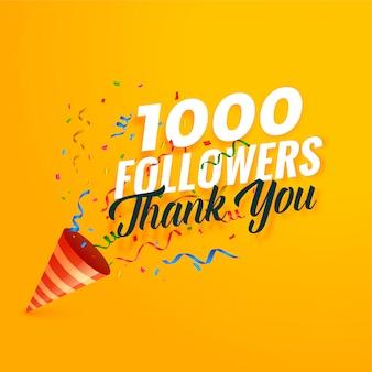 1000 follower bedanken sich bei hintergrund mit konfetti