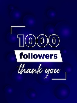 1000 follower, blaues banner für soziale netzwerke
