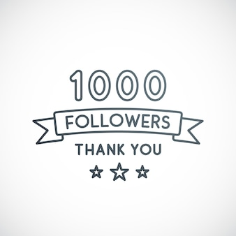 1000 follower danke vektordesign