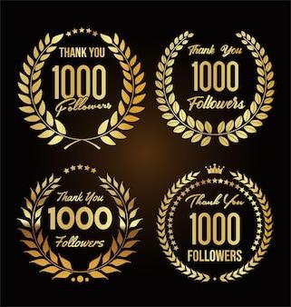 1000 follower illustration mit dankeschön mit goldenem lorbeerkranz