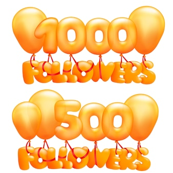 1000 follower-konzeptkarte mit buchstaben, die auf luftballons fliegen.