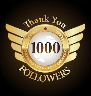 1000 follower mit dankeschön mit goldenem band