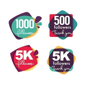 1000 follower und mitglieder, danke frames, blasen und banner mit schriftzugkomposition