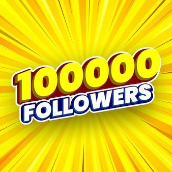 100000 follower-banner vektor-illustration