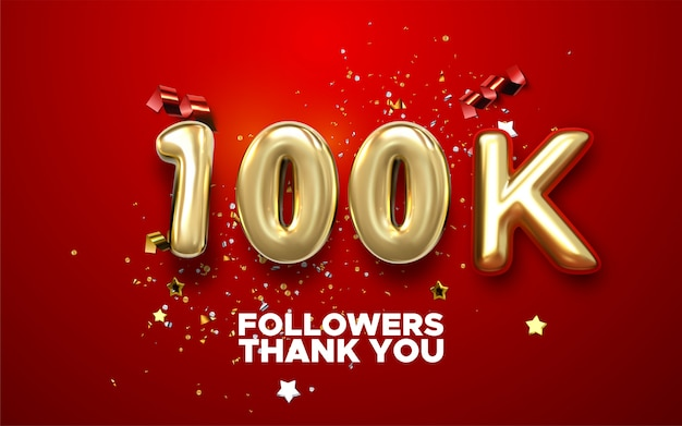100k anhänger feier banner mit text. social media leistungsplakat. 100.000 follower danken ihnen für die beschriftung