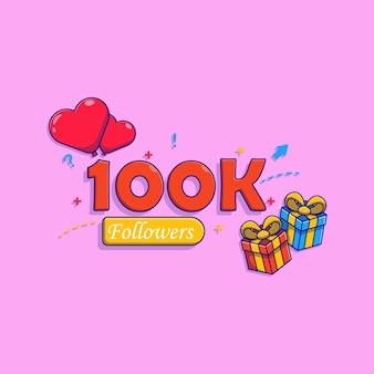 100k follower banner-vektor-illustration-design