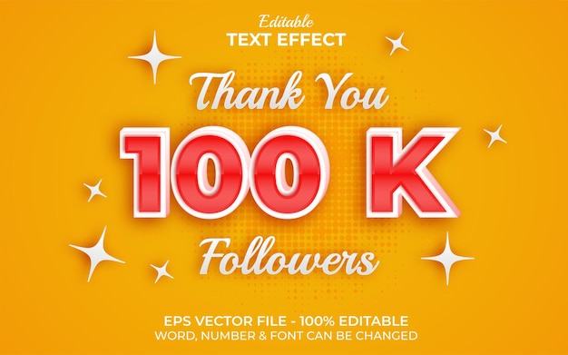 100k follower texteffektstil bearbeitbarer texteffekt