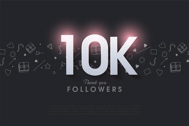 10k follower hintergrund mit leuchtender figur abbildung oben.