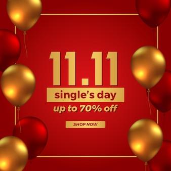 11 11 einzelverkaufsangebot werbebanner-werbung, china-einkaufstag mit 3d-fliegendem goldenem und rotem ballon