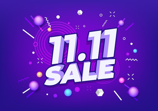 11.11 shopping day sale poster oder flyer design. global shopping world day sale.