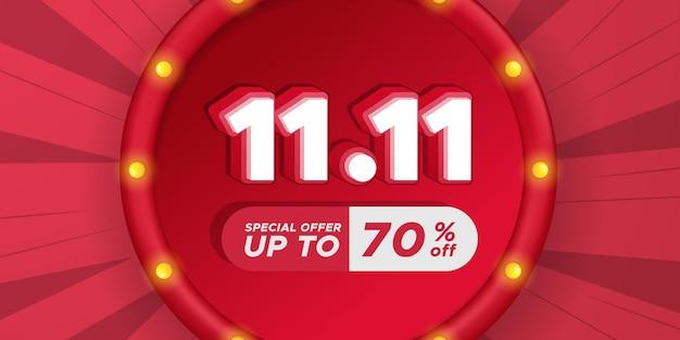 11.11 single's day shopping day rabatt promotion poster banner werbung final großer mega-verkauf mit 3d-text