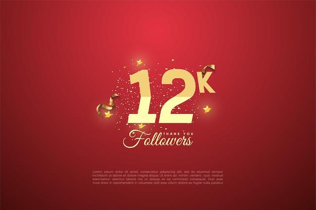 12 follower mit abgestuften zahlen und sternen auf rotem grund