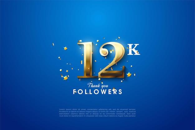 12 follower mit goldenen zahlen auf blauem hintergrund