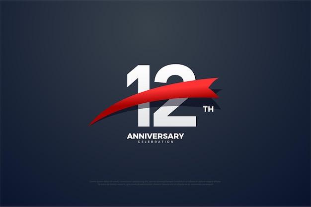 12. jubiläum mit einem spitz zulaufenden roten bild