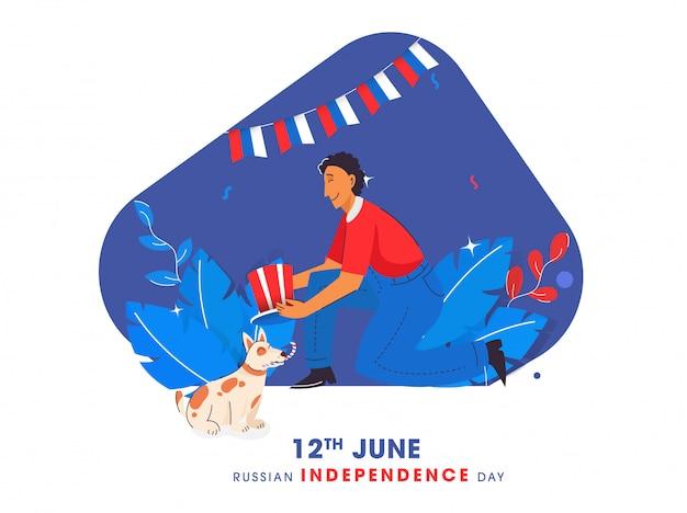 12. juni glückliches russland-unabhängigkeitstag-konzept, junge, der russland-flaggen-farbhut mit cartoon-hund auf natur-abstrakten hintergrund hält.