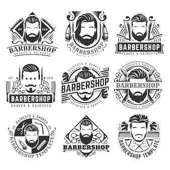 12 satz weinlese barbershop-logoschablonensammlung