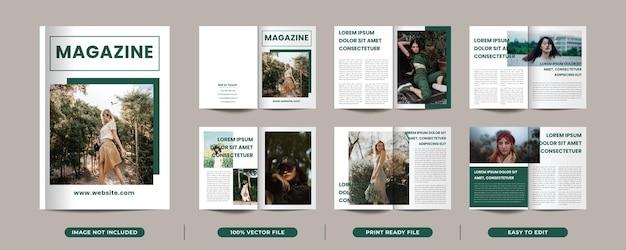 12 seiten minimalistisches magazin-cover-portfolio-design mit titelseite premium-vektor
