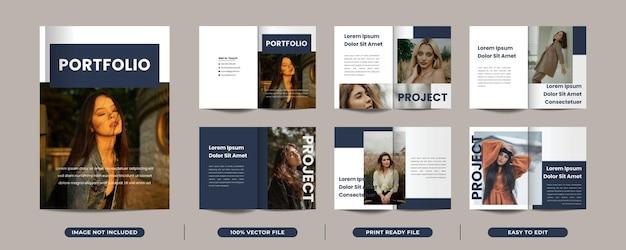 12 seiten minimalistisches magazin-portfolio-design mit titelseite premium-vektor
