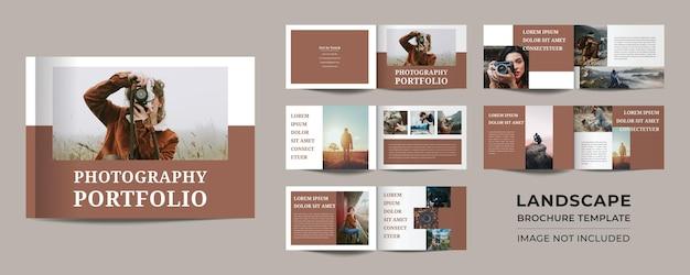12 seiten minimalistisches portfolio-design für landschaftsfotografie premium-vektor
