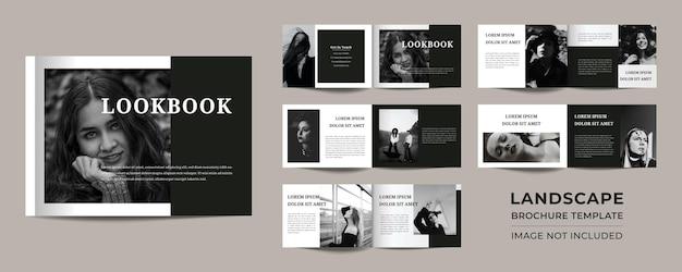 12 seiten minimalistisches schwarzes landschafts-lookbook-portfolio-design premium-vektor