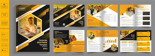 12-seitiges abstraktes broschürendesign firmenprofil-broschürendesignhalbgefaltete broschürebifold-broschüre