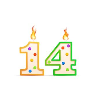 14 jahre jubiläum, 14 nummerförmige geburtstagskerze mit feuer auf weiß