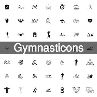 148 gymnastik-icon-set