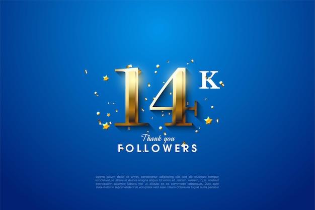 14k follower mit goldenen zahlen auf blauem hintergrund