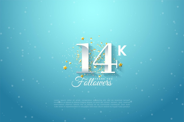 14k follower mit zahlen auf blauem hintergrund