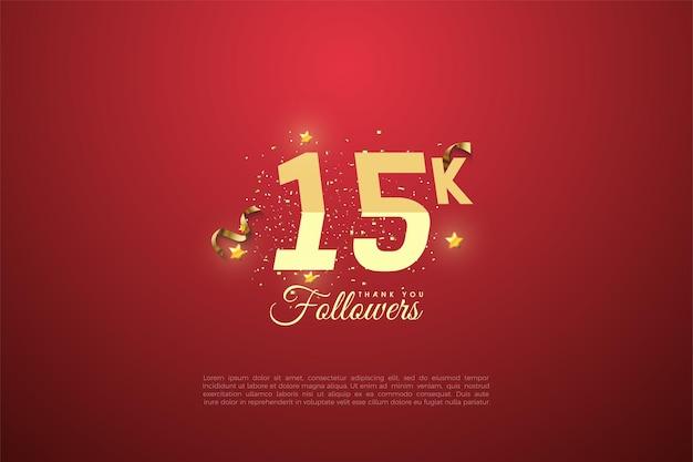 15.000 follower mit abgestuften zahlen und leuchtenden kleinen sternen.
