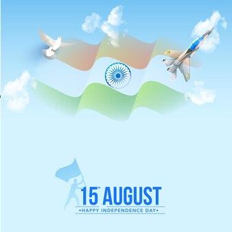15. august happy independence day konzept mit gewellter indien-flagge, taubenfliegen und kampfjet