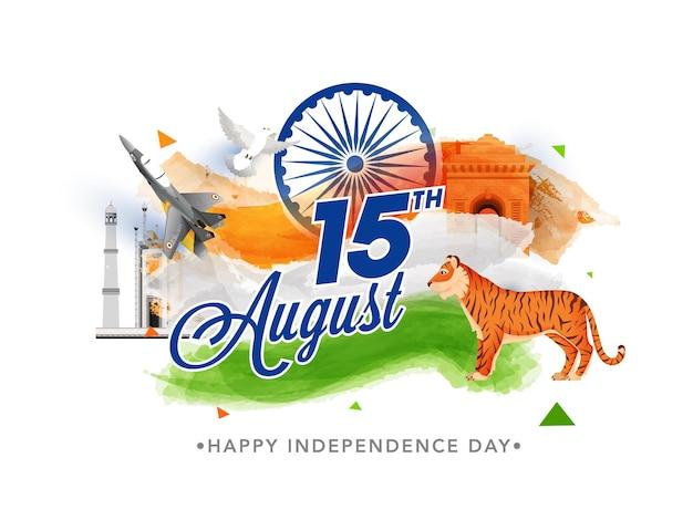 15. august schriftart mit tiger-tier, kampfjet, taubenfliegen und tricolor-pinsel-effekt auf berühmtem denkmal für das konzept des unabhängigkeitstages.