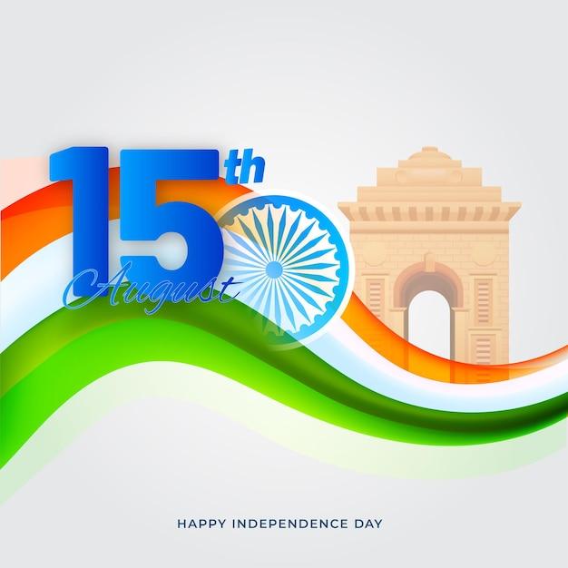 15. august text mit ashoka wheel, india gate monument und tricolor wave auf grauem hintergrund.