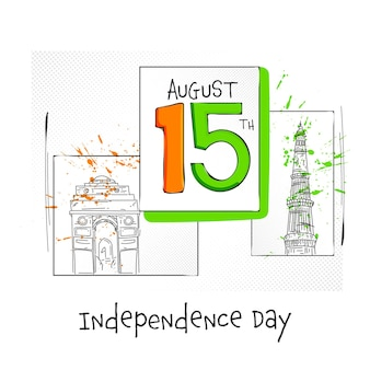 15. august text mit dem skizzieren des berühmten denkmals auf weißem hintergrund für das konzept des unabhängigkeitstages.