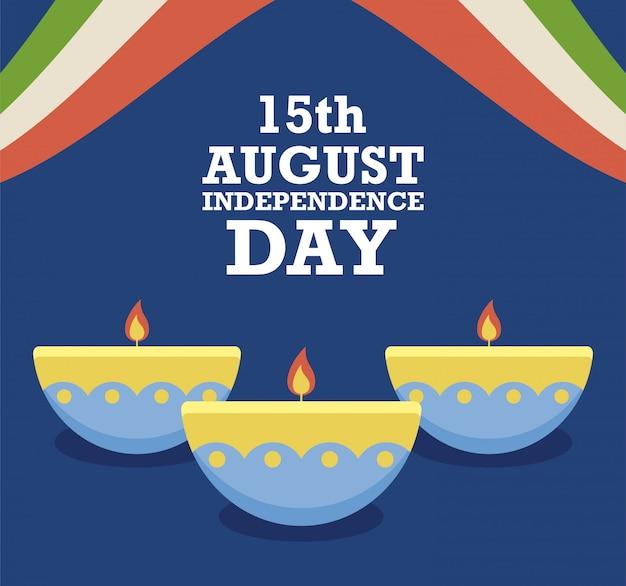 15. august unabhängigkeitstag mit kerzen
