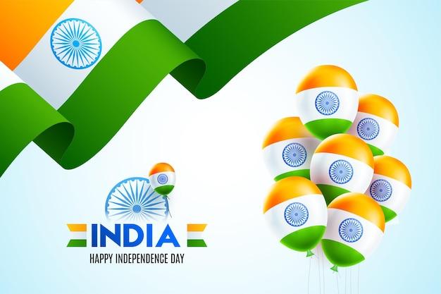 15. august unabhängigkeitstag von indien mit wellenförmigem flaggendesign und glocken bell
