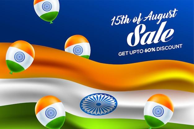 15. august unabhängigkeitstag von indien mit wellenförmigem flaggendesign